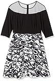 R&M Richards Women's Plus Size Womans Sheer Shoulder Print Party Dress, Black/White, 18W