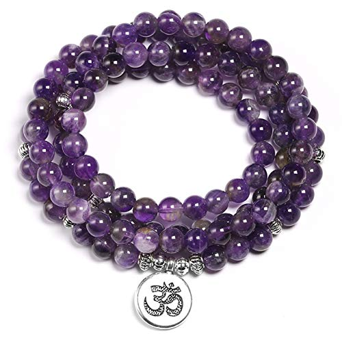 NASHUBIA Natuurlijke Paarse Kristal Amethysten Armband 6mm Kralen Ketting Yoga 108 Mala Steen Armband voor Vrouwen Lotus Sieraden
