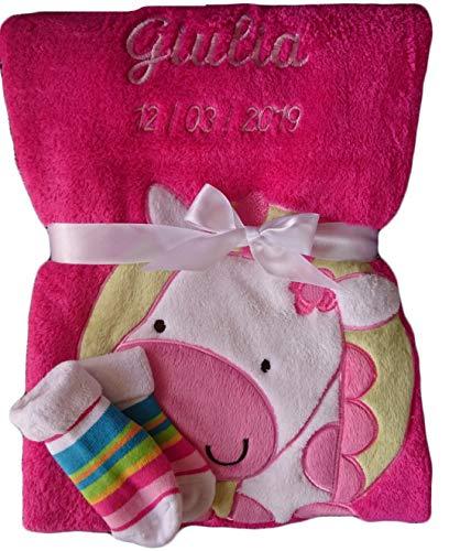 Babydecke mit Namen bestickt + Babysocken Babyrassel Greifling Baby Geschenk Geburt Taufe (pink Giraffe)