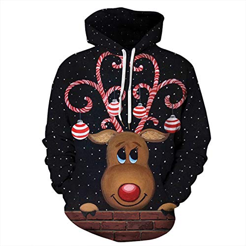 DerDer Christmas 3D Digital Printing Pullover Hooded Sweater Women Long-Sleeved Loose Couple Suit