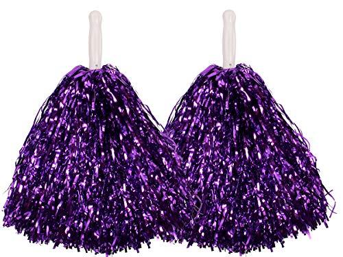 2 Pompones Métalicos | Lila | de Animadora | Cheerleader | Pom Poms | Chica | Accesorio para Disfraz | Despedida de Soltera