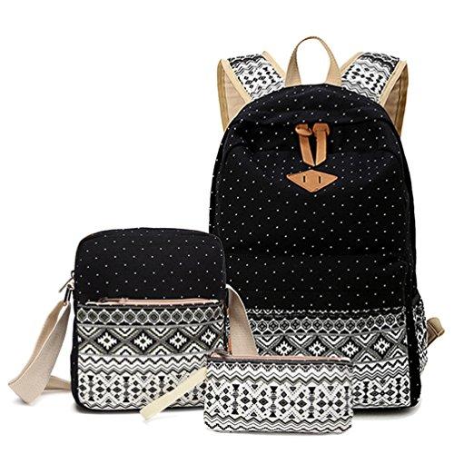 HITOP Backpacks for Teen Girls, Cute Fashion School Student Bookbag Set, Laptop Bag Shoulder Bag Pencil Bag 3 in 1 … (Black (1 Set))