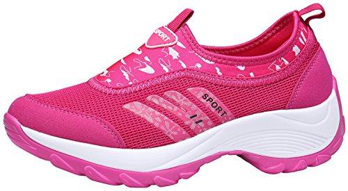DENGBOSN Damen Mesh Sneaker Laufschuhe Turnschuhe Atmungsaktive Schnür Schuhe Leicht Sportschuhe,XZ003-pink-EU Grösse 35,Asia Grösse 35