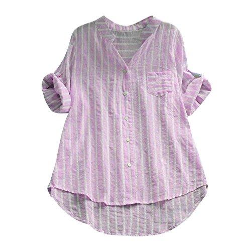 VEMOW Herbst Frühling Sommer Elegante Damen Frauen Stehkragen Langarm Casual Täglichen Party Strand Urlaub Lose Tunika Tops T-Shirt Bluse(X4-Rosa, 44 DE/XL CN)