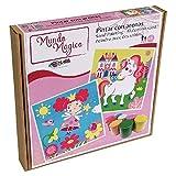 Arenart   Confezione da 2 disegni fata e unicorno, 30 x 30 cm, per dipingere con sabbia colorata, lavori artigianali per bambine, disegni per bambini + 6 anni
