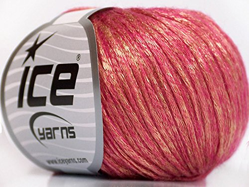 Rock Star, Gold, Pink, Metallic Shine, Soft Nylon Merino Wool Acrylic Blend Yarn, 50 Gram