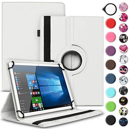 Nauci Tablet Hülle für Xido Z120 Z110 X111 X110 Tasche Schutzhülle Hülle Cover aus Kunstleder Standfunktion 360° Drehbar, Farben:Weiß