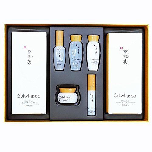 Sulwhasoo Essential Duo Set ( Essential Balancing Water 4.23 Oz/125Ml + Essential Balancing Emulsion 4.23Oz/125Ml + 5 Travel Kit ) by Sulwhasoo