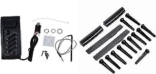 Nrpfell 1 Set Guitar Preamp Amplifier Equalizer EQ 4-Band EQ Preamp & 2 Sets Acoustic Guitar Bridge Pins/Saddle/Nut Black