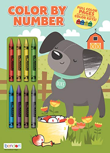 Bendon 32-Page Color by Number Coloring and Activity Book with 8 Crayons 49931