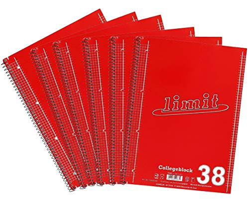 Limit Collegeblock A4, kariert, 80 Blatt, rot, 6er Pack, 400150979