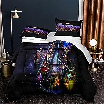 JOLEYCOR Avengers Quilt Set Queen Size 3 Piece Movie Superhero Characters Duvet Comforter Set for Boys Teens Room 1 Comforter 2 Pillowcases