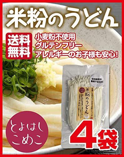 とよはしこめこ 米粉のうどん グルテンフリー・小麦粉フリー・アルミフリー 128g×4袋