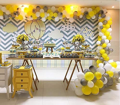 PartyWoo Grijs Geel Witte Ballonnen, 60 Stuks 12 Inch Pak Gele Ballonnen, Grijze Ballonnen, Witte Ballonnen, Geel Grijze Ballonnen Voor Gele Feestdecoraties, Geel Grijze Baby Shower Decoraties