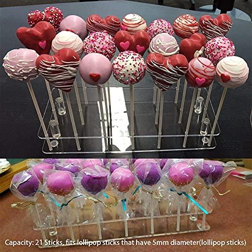 Rongxin Lollipop soporte base de cocina, soporte de exhibición rectangular decoración, 21 agujeros pastel fiesta acrílico boda postre herramienta DIY