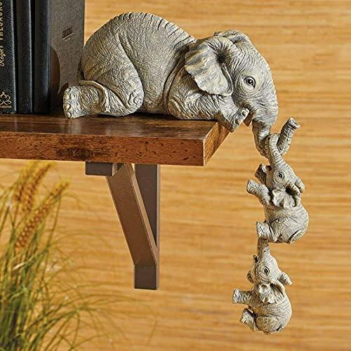 ROERDTRY Muttertagsgeschenk Dekoration, Handgefertigte Deko, Niedliche Dekofigur Elefant Glückselefant Afrika Deko afrikanische Skulptur für Büro/Familie Zimmer/Zuhause