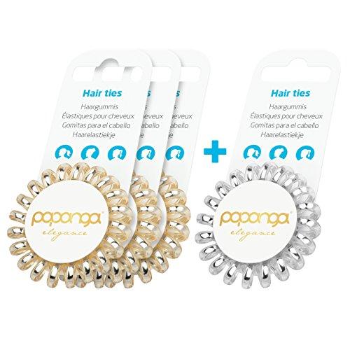 Original Papanga® Spiral Haargummis, 3+1 Vorteils-Pack, Elegance Edition, Größe: Small, Farben: 3 x Golden Elegance + 1 Elegant Silver