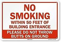 "No Smoking Within 50Feetエンジニアグレード反射アルミニウムの建築入り口のサイン、18"" x 12"""
