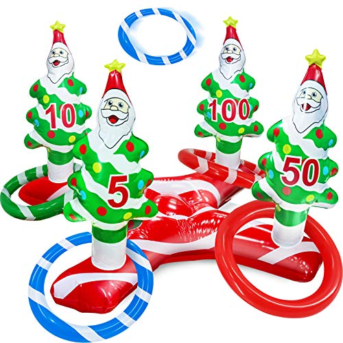 TURNMEON Giant Inflatable Christmas Tree Ring Toss Party Game Toys Kids Adults Family Stocking Stuffers Christmas Party Supplies Favors Decoration Indoor Outdoor Games(4 Score Santa Base, 4 Rings)