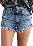 luvamia Women's Casual Mid Rise Shorts Frayed Raw Hem Ripped Denim Jean Shorts Blue Color, Size XL