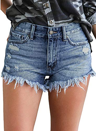 luvamia Women's Mid Rise Shorts Frayed Raw Hem Ripped Denim Jean Shorts Blue Color, Size M