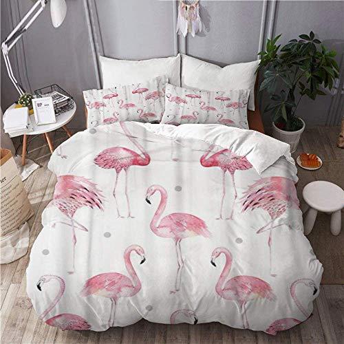 Juego de funda nórdica para ropa de cama, juego de 3 fundas de edredón con 2 fundas de almohada, flamencos rosados de acuarela, lunares grises, elegante tropical, edredón de microfibra ultra suave d