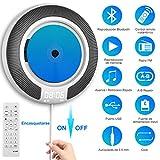 Reproductor de CD Portatil Bluetooth- CD Player para Montaje en Escritorio/Pared, Montado con Control Remoto y Pantalla OLED, Altavoces de HiFi, Radio FM.