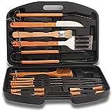 Knoijijuo Shelf 18Piezas De Acero Inoxidable BBQ Tools con Funda De Almacenamiento - Premium Heavy Duty Professional Grill Set