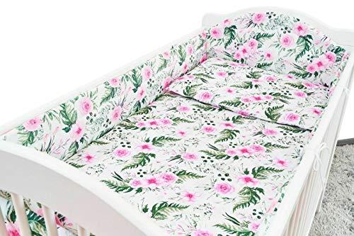 5PC Baby Bedding Set Bumper Allround Pillow Duvet COTBED 140x70 Garden Flowers