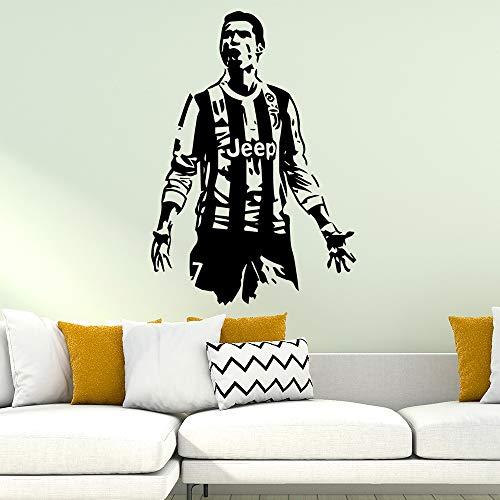 Cristiano Ronaldo Fútbol Real Madrid Fútbol Vinilo Apliques Arte de la pared Etiqueta Decoración para el hogar Niños Marrón 57cm X 81cm