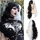 Peluca mitad negra mitad blanca con flecos pelucas de pelo sintético ondulado largo y rizado para mujeres Halloween Cosplay fiesta diaria