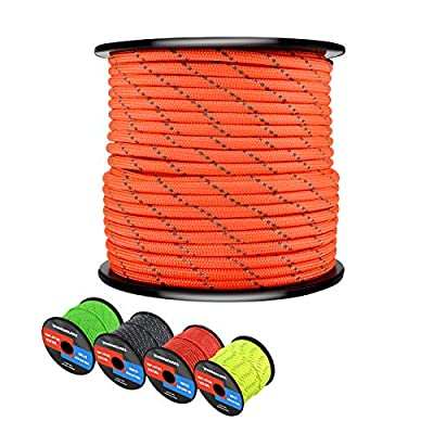 WEREWOLVES Reflective 550 Paracord - 100% Nylon, Rope Roller, 7 Strand Utility Parachute Cord for Camping Tent, Outdoor Packaging (Reflective Neon Orange, 100Feet)