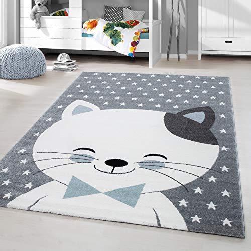 HomebyHome Kinderteppich Kurzflor Katze Lächeln Kinderzimmer Babyzimmer Grau Blau Meliert, Grösse:120x170 cm