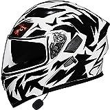 Casco integral Casco modular de moto Casco de motocicleta Bluetooth...