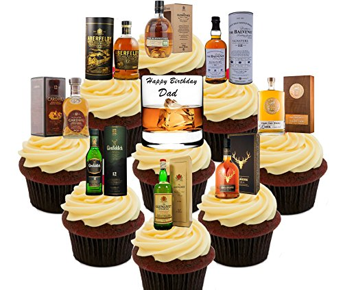 Gelukkige Verjaardag Papa, Whisky Lover Party Pack, Eetbare Cake Decoraties - Stand-up Wafer Cupcake Toppers