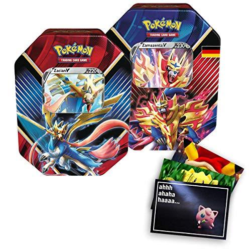 Lively Moments Pokemon Karten 2 Tin Boxen SCSH01 Schwert und Schild mit Zacian V & Zamazenta V Sammelkartenspiel Deutsch DE / Metallbox + Exklusive GRATIS Grußkarte