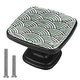 Tirador para Muebles Ola de japón Manija del cajón cristal Perilla de cajón negro Pomo para muebles 4 piezas Perilla de armario Tirador de armario 3x2.1x2 cm