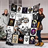 Jack Skellington Nightmare Before Christmas Fleece Blanket for Women, Men, Friends, Gift for Christmas Movie Lover, Halloween Bed Throw Blankets Twin Queen Size