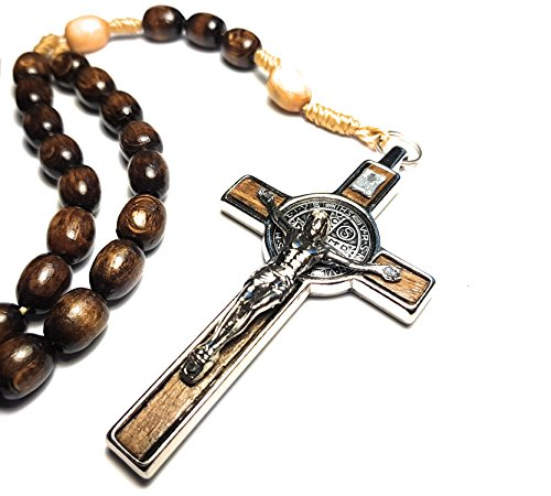 Made in Italy Rosary Blessed by Pope Francis Vatican Rome Holy Father Medal Cross Saint Benedict Patron Saint of Students, Christian Values Honor Veterans US Army solders Addiction Dependence (Brown)