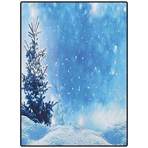 Winter Pattern Decorative Rug Carpets for Home, Nursery, Bed and Living Room Artistic Rendition of Snowy Season of Year Frozen Pine Tree Snowflakes Falling Down Blue White 36' x 60'