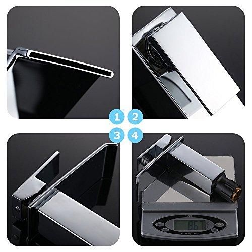 Homelody Chrom Wasserfall Wasserhahn bad Waschbeckenarmatur Waschtischarmatur Einhebelmischer Waschtischbatterie Badarmatur Armatur für Bad - 3