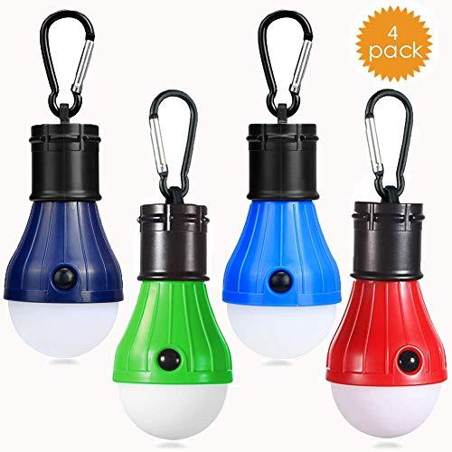 JTENG Camping LED Campinglampe mit Karabiner Camping Lantern 4 Stücke Zeltlampe Glühbirne Set Camping Lampen wasserdicht Rucksack Licht für Abenteuer, Angeln