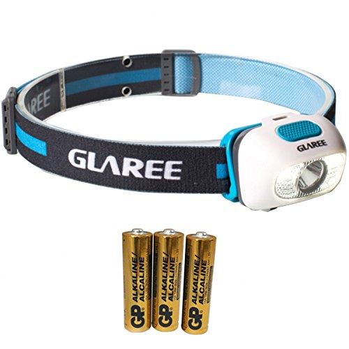 Linterna frontal LED;210lúmenes, luz blanca y roja, superbrillante, impermeable, batería para 48 horas; ideal para correr, escalar, camping o leer; ajustable; L60 azul