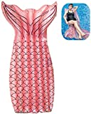 Flotador Inflable Sirena Float Mermaid Hamacas Flotador para Adultos, Tumbona Inflable Portátil para Sillón Lounge de Piscina,Anillo de Natación Flotador de Piscina Inflable Juguetes (Rosa, Sirena)