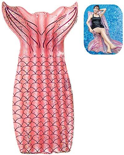 Galleggiante Gonfiabile Mermaid Float Materassino Amaca Galleggiante Adulto, Portatile Gonfiabile Letto Sdraio per Piscina Poltrona Lounge, Amaca di Acqua Lettino Galleggiante in Rete (185X92cm, Rosa)
