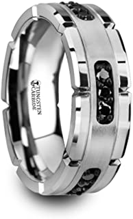 Thorsten Stockton Flat Pipe Cut White Tungsten Ring 4mm Wide Wedding Band from Roy Rose Jewelry