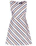 Taifun Damen ärmelloses Kleid Mit Streifen Tailliert Off-White Gemustert 40