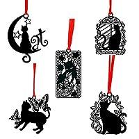 moin moin しおり ブックマーク ブックマーカー 猫好きにはたまらない 猫 ネコ 影絵 赤 リボン 黒 ブラック シルエット 繊細 ステンレス金属 5つセット / 花蝶猫月