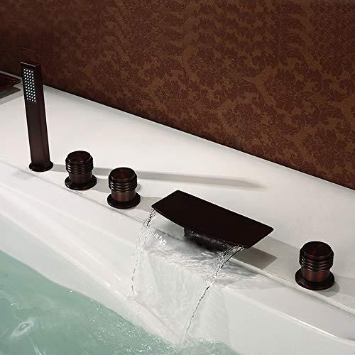 HNBMC Grifo para bañera, Orb Plano, Curvado, de 5 Piezas, Grifo para Lavabo, Cascada Caliente y frío