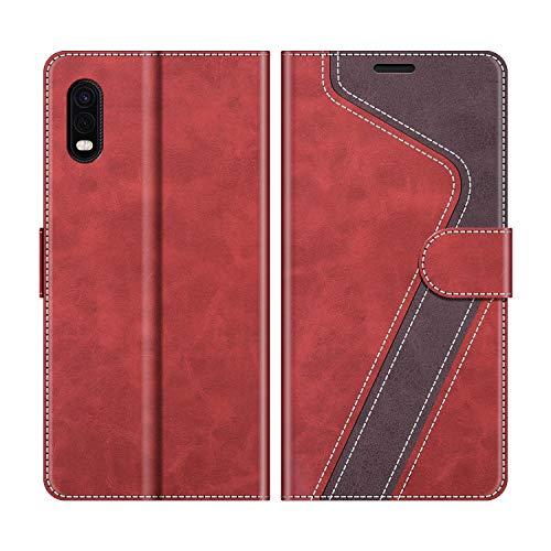 MOBESV Handyhülle für Samsung Galaxy Xcover Pro Hülle Leder, Samsung Galaxy Xcover Pro Klapphülle Handytasche Hülle für Samsung Galaxy Xcover Pro Handy Hüllen, Modisch Rot